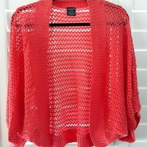 Adorable coral crocheted shrug, XXL/20